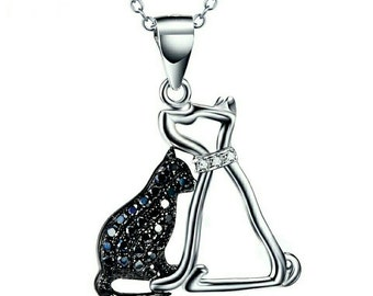 Pendant and necklace silver cat and dog