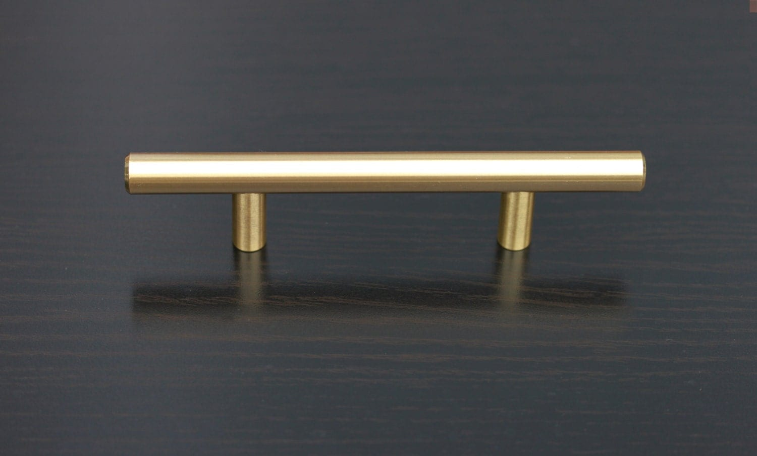 Satin Brass Cabinet Pulls Satin Brass Cabinet Hardware Euro Style Bar Handle Pull 96mm 3