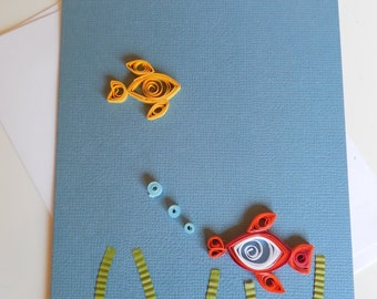 Handmade Quilled Fish Greeting Card, Blank Inside