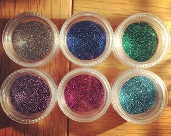 SIX GLITTTER POTS: super cheap glitter in all 6 colours