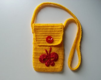 Bag, small yellow bag with butterfly