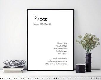 Pisces Art Print Zodiac Pisces Wall Art Astrology Gift Pisces Star Sign Zodiac Wall Decor Pisces Home Decor Astrology Gift Idea Pisces