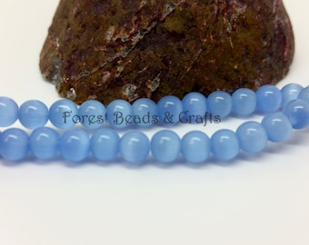 Glass Cats Eye Beads, 6mm Round, Light Blue, 1 Strand (60 Beads), Jewellery Making Beads, Beads Supplies, Bracelet Making, Necklace Making