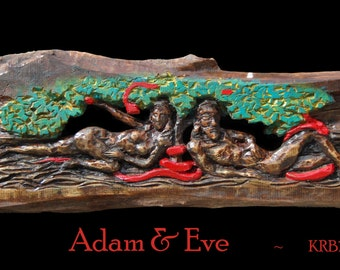 Adam and Eve wood carving