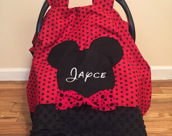Personalized Mickey Mouse car seat canopy