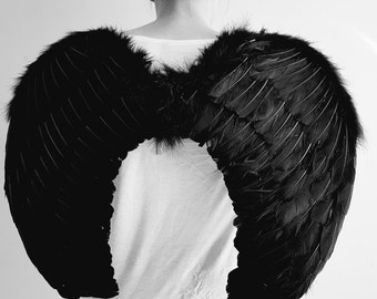 Halloween Large Black Feather Wing - Deluxe Real Feathers, Adult, Wings, Black, Halloween, Dark Angel Wings