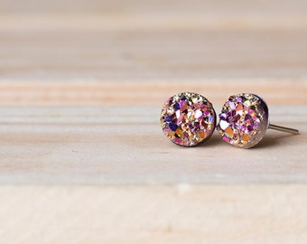 8mm Faux Druzy Earrings- RACHEL