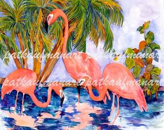 Three Flamingoes, Flamingo Art, Tropical Watercolor, Watercolor,Tropical Wall Art, Coastal Living Art, Cottage living decor, patkaufmanart