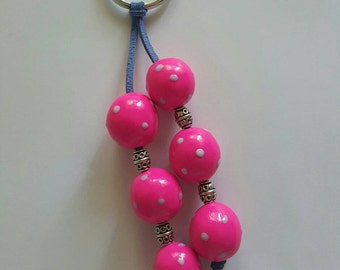Polymer clay key chain, zipper pull