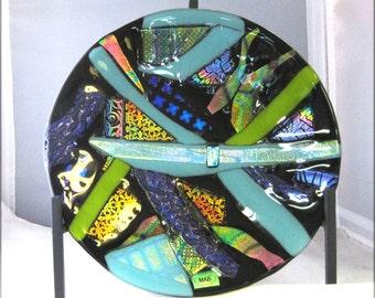 Fused Glass Plate, Dichroic Glass, Home Decor, Glass Art, Art Glass,