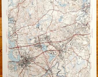 Antique Natick Machusetts 1943 Us Geological Survey Topographic Map Wellesley Wayland Weston