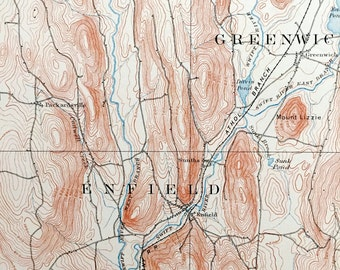 Antique Enfield Massachusetts Before Quabbin Reservoir 1893 Us Geological Survey Topographic Map Dana