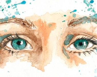 watercolor portrait // connection // art // print // home