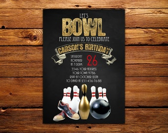 Bowling Party Invitation. Let's Bowl. Gold Glitter and Chalkboard. Any age. Adult bowling invitation. DIY.  Printable