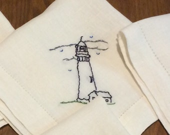 Lighthouse Hand Embroidered Linen Napkins Set of 4