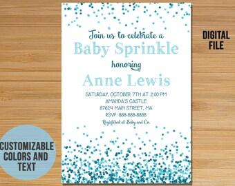 Blue Confetti Baby Shower Invitation, Baby Sprinkle Invitation, Baby Shower for boy, Baby boy