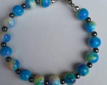 Hard Candy Glass/Hematite Bracelet