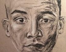 Charcoal, chalk, pencil Boy