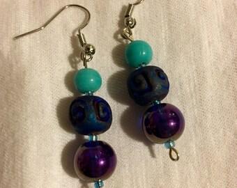 Turquoise Metallic Glass Bead Dangle Earrings