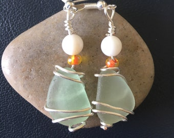 Sea glass and czech beaded earrings