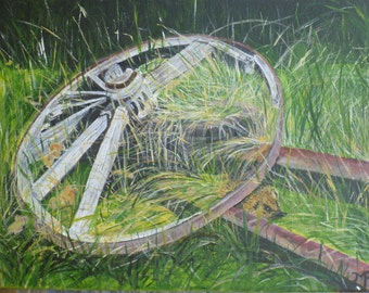 acrylic on canvas hedgehog in the fields
