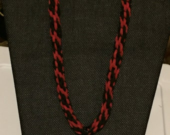 Red/Black Rawhide Kumihimo Braided Necklace With Pendant