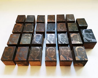 Lot of 26 Vintage Photo Copper Typeset Printing Blocks