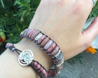 Beaded Bracelet Leather Wrap Rhodonite and Pewter