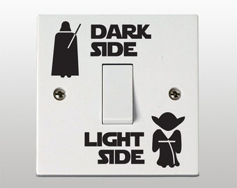 Star Wars Dark Side - Light Side Light Switch Vinyl Sticker / Decal (Set of 2)