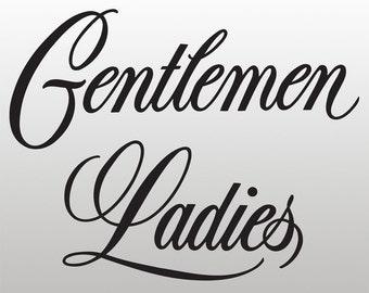 Restroom / Bathroom / Toilet Vinyl Decals / Stickers - Ladies - Gentlemen (set of 2)