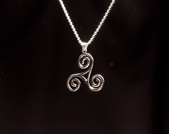 Silver talisman Triskelion , gift for her, pendant+chain, gift for him,  triskele, symbol of Sicily