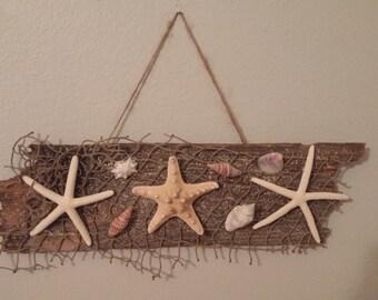 Starfish & Seashells Plaque Reclaimed Wood