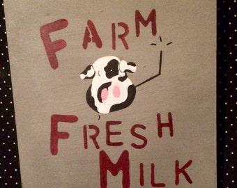 Farm Fresh Milk acrylics wood wall art- farmhouse wall decor, cow decor