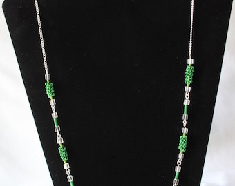 Long Necklace and Earring Set, Handmade with Coiled and Twisted Jewellery Wire in Green with Square Clear Spacers
