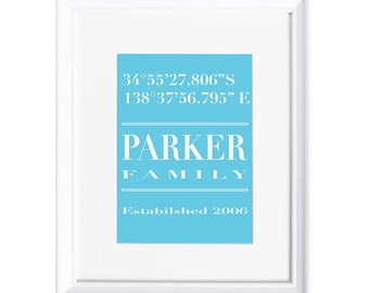 Family Name and Coordinates Personalised Print - Layout 1