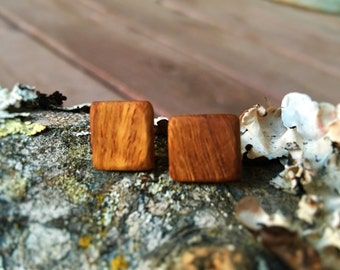 Tiny Square Dogwood Stud Earrings