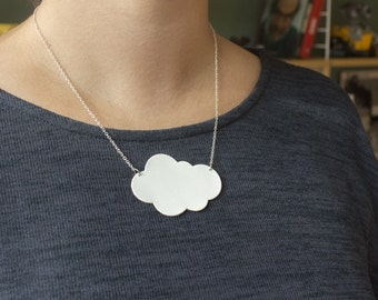 """Collar cloud """"stratus"""" leather hand made white"""