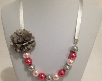 Grey and Pink Pearl Ribbon Necklace
