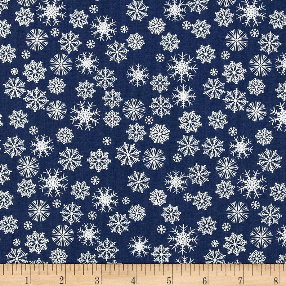 Dear stella tinsel town blue snowflakes fabric by the