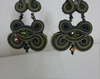 Earrings soutache mid size with Swarovski