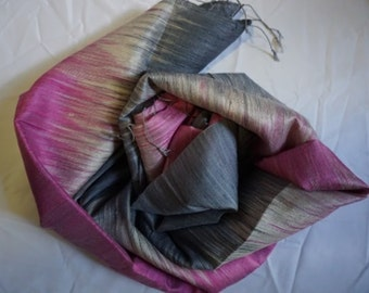 SALE 30% OFF -coupon code THAISILK2017 Premium Thai Silk Scarves - Large Dark Grey and Pink
