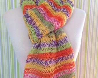 Scarf, Fallmaschenschal handknitted in candy colors