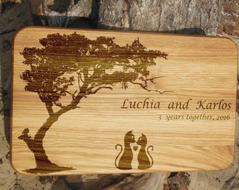 Personalized cutting board wedding gift for couple anniversary gift for her birthday gift Wood chopping board engraved Love cats board tree