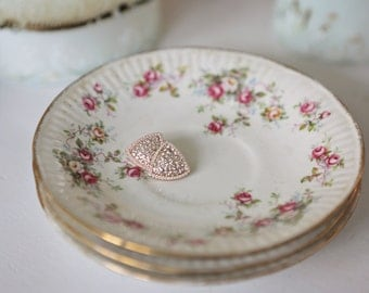 Dainty Flowered Tea Cup Plates (set of 3)