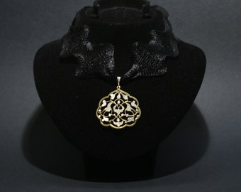 Handmade-jewelry-gold plated on silver-uniqie-Tile motif necklace.