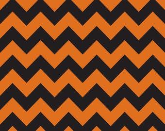 Riley Blake Designs - Medium Chevron - Orange/Black - 1 YD