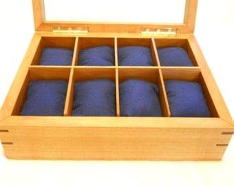 8 slot handmade cherry watch box with pillows
