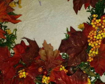 "18"" autumn wreath, maple leaves & berries"