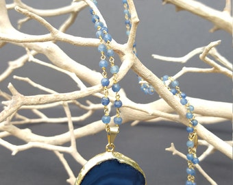 Blue agate pendant on wire-wrapped chain