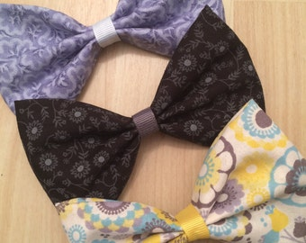 Flower Fabric Hair Bows Set of 3